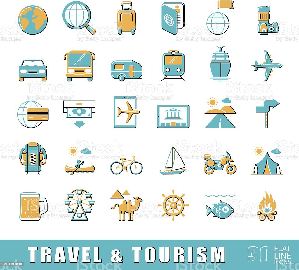 Set of premium quality flat line travel and tourism icons. vector art illustration