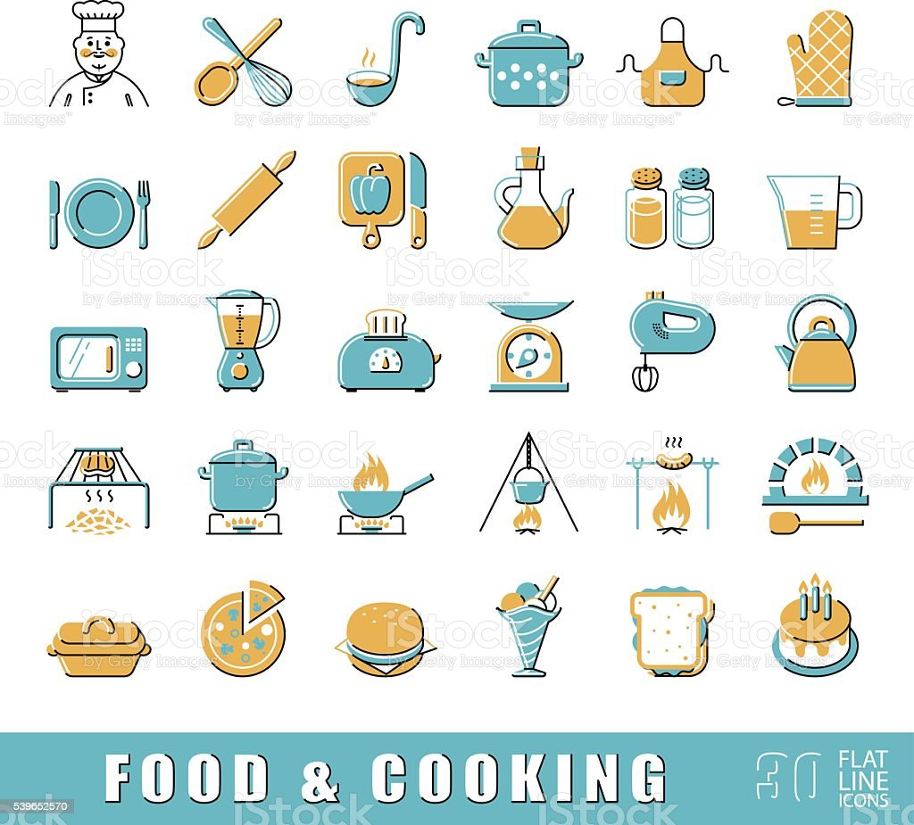 Set of premium quality food and cooking icons. vector art illustration