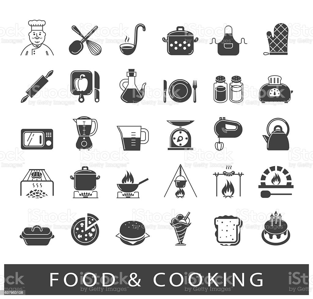 Set of premium quality food and cooking icons vector art illustration