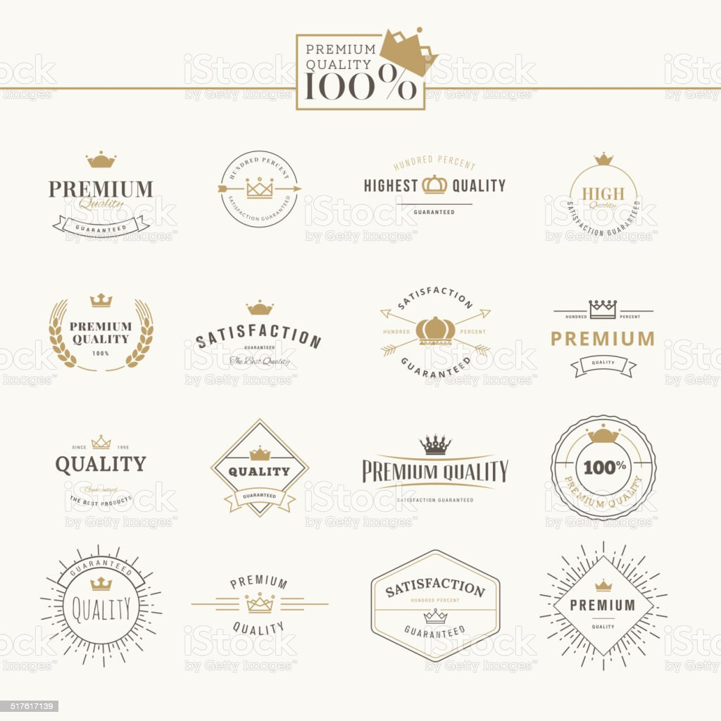 Set of premium quality labels and badges vector art illustration