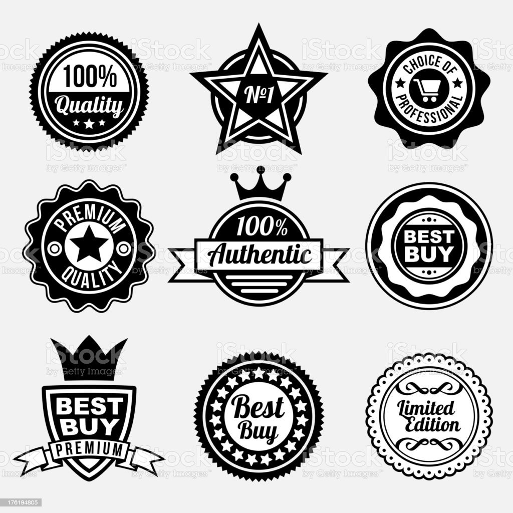 Set of premium quality labels royalty-free stock vector art