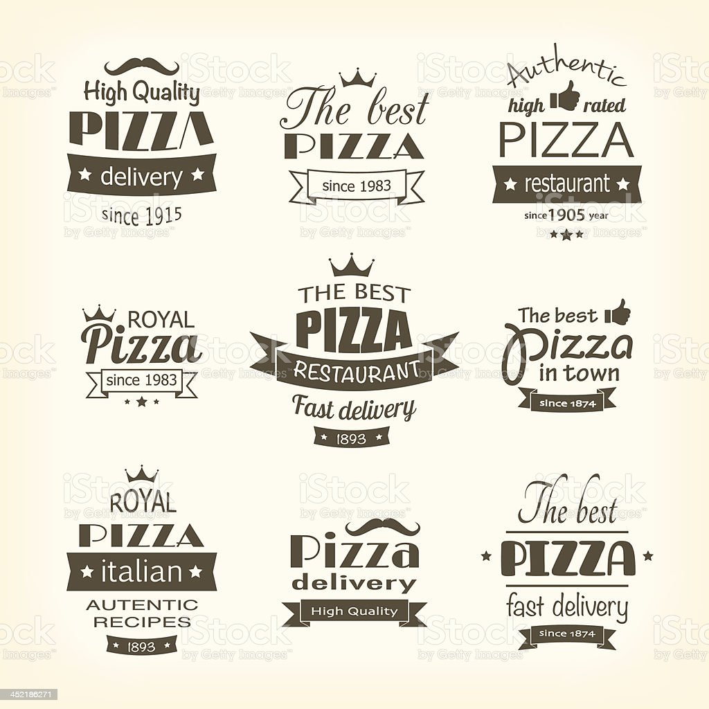 set of premium quality pizza labels royalty-free stock vector art