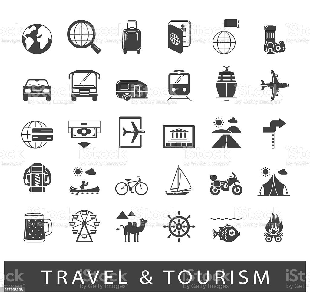 Set of premium quality travel and tourism icons vector art illustration
