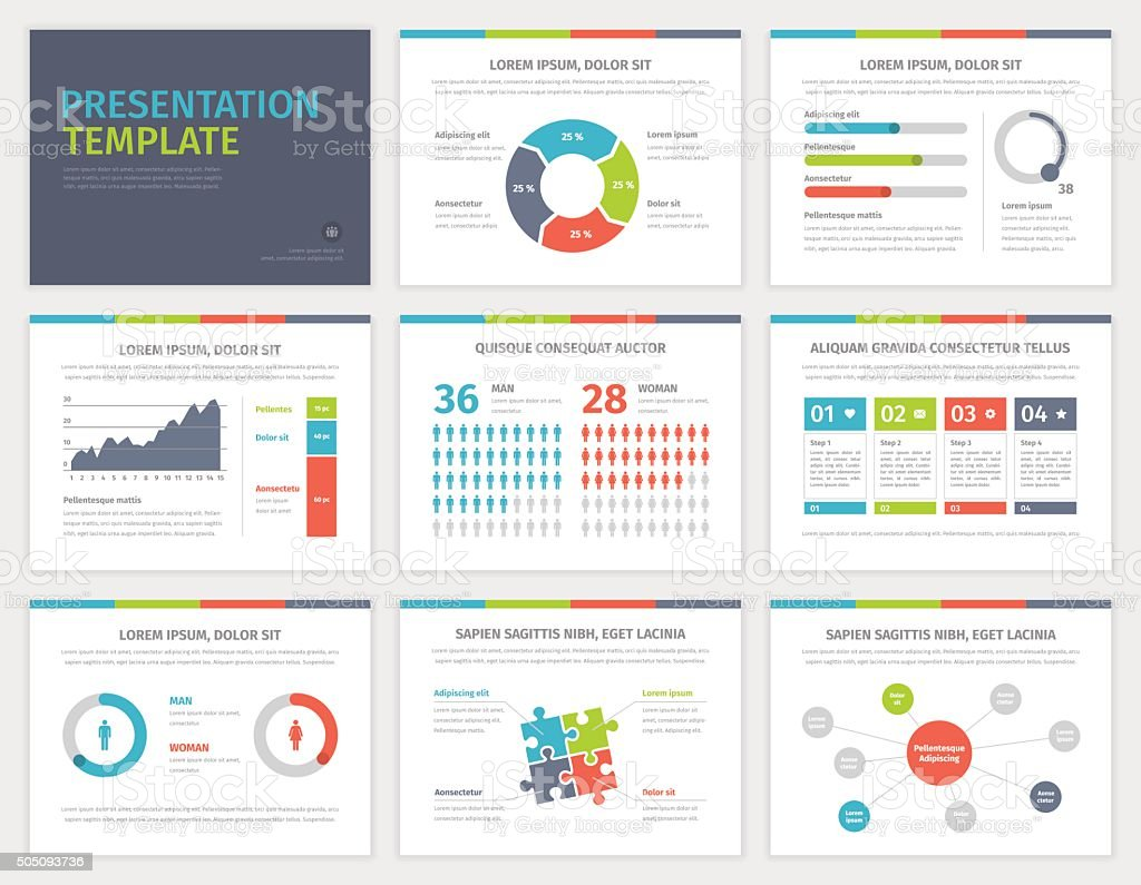 Set Of Presentation Template Infographic Elements On