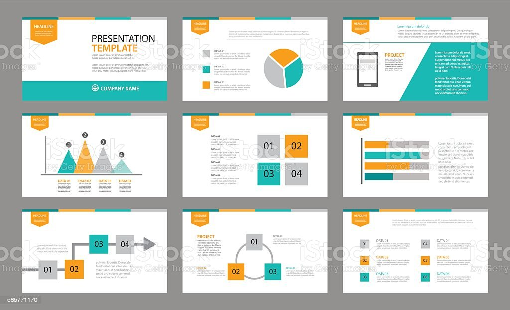Set of presentation template.Use in annual report, corporate vector art illustration