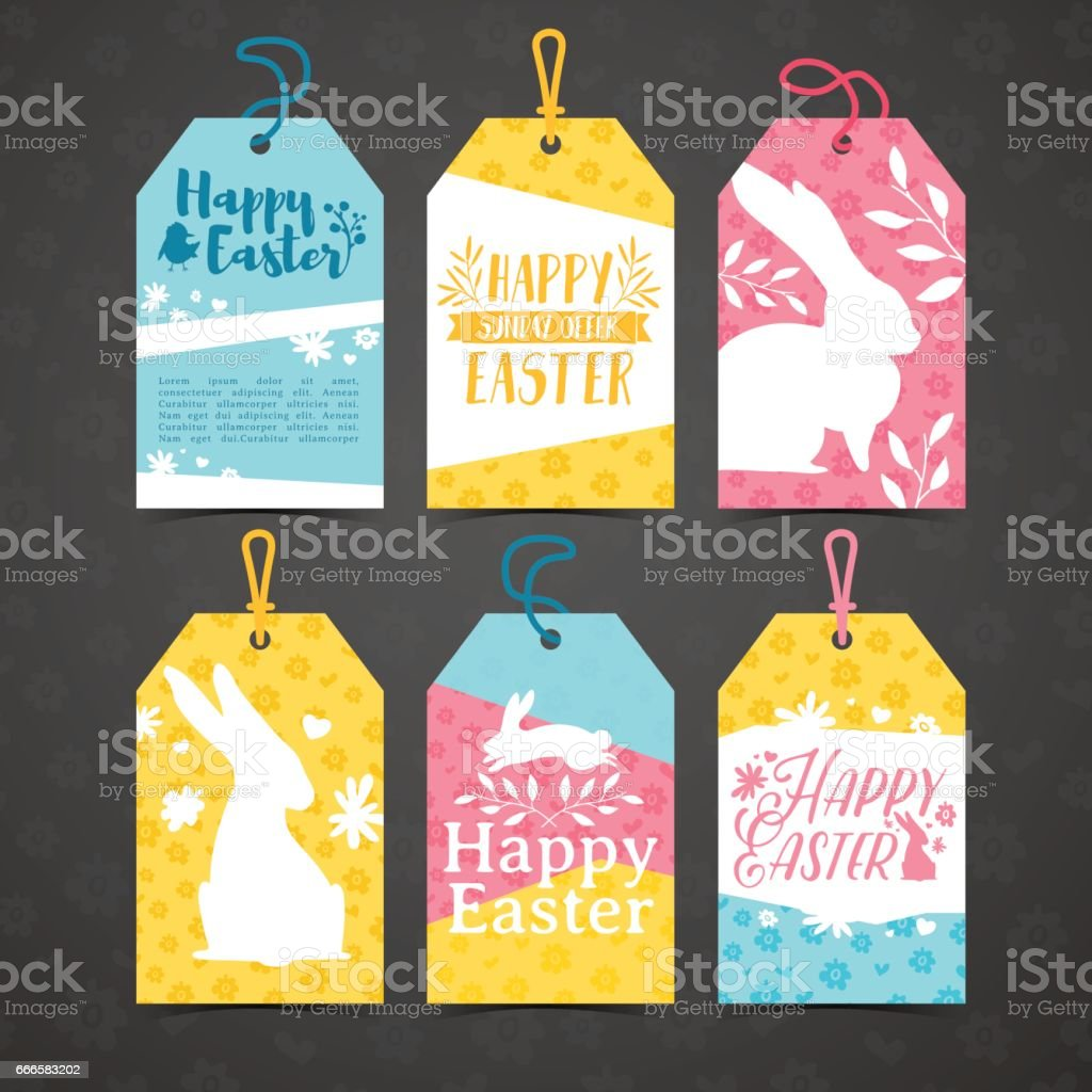 Set of price tags for easter. Template for the design of cards for the spring holiday of Happy Easter. Decor with a floral pattern. Logos with silhouettes of rabbit, chick and plant. Vector. vector art illustration