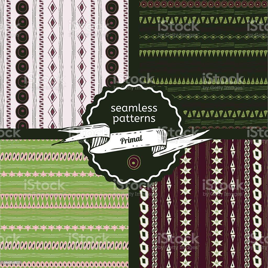 Set of Primal seamless pattern vector art illustration