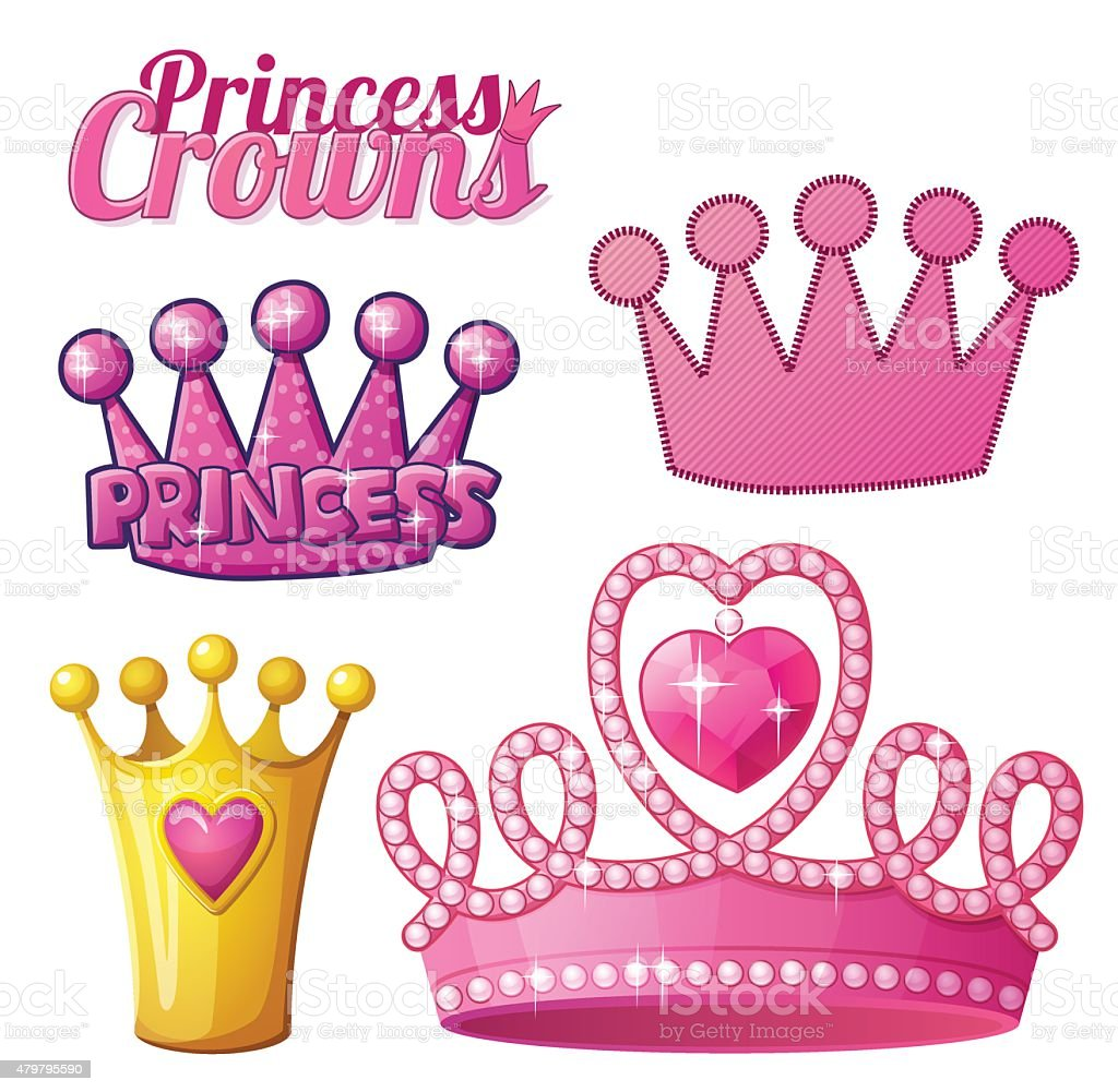 Set  of princess crowns isolated on white. Vector illustration vector art illustration