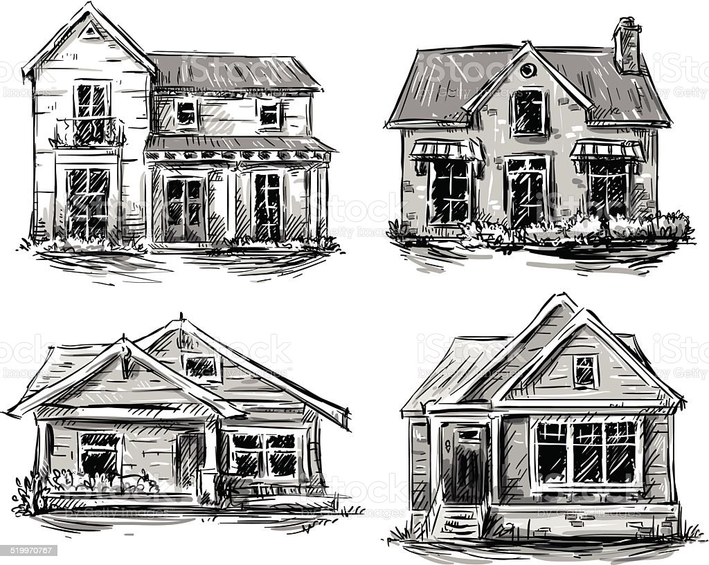 Set of private houses, hand drawn, vector illustration vector art illustration