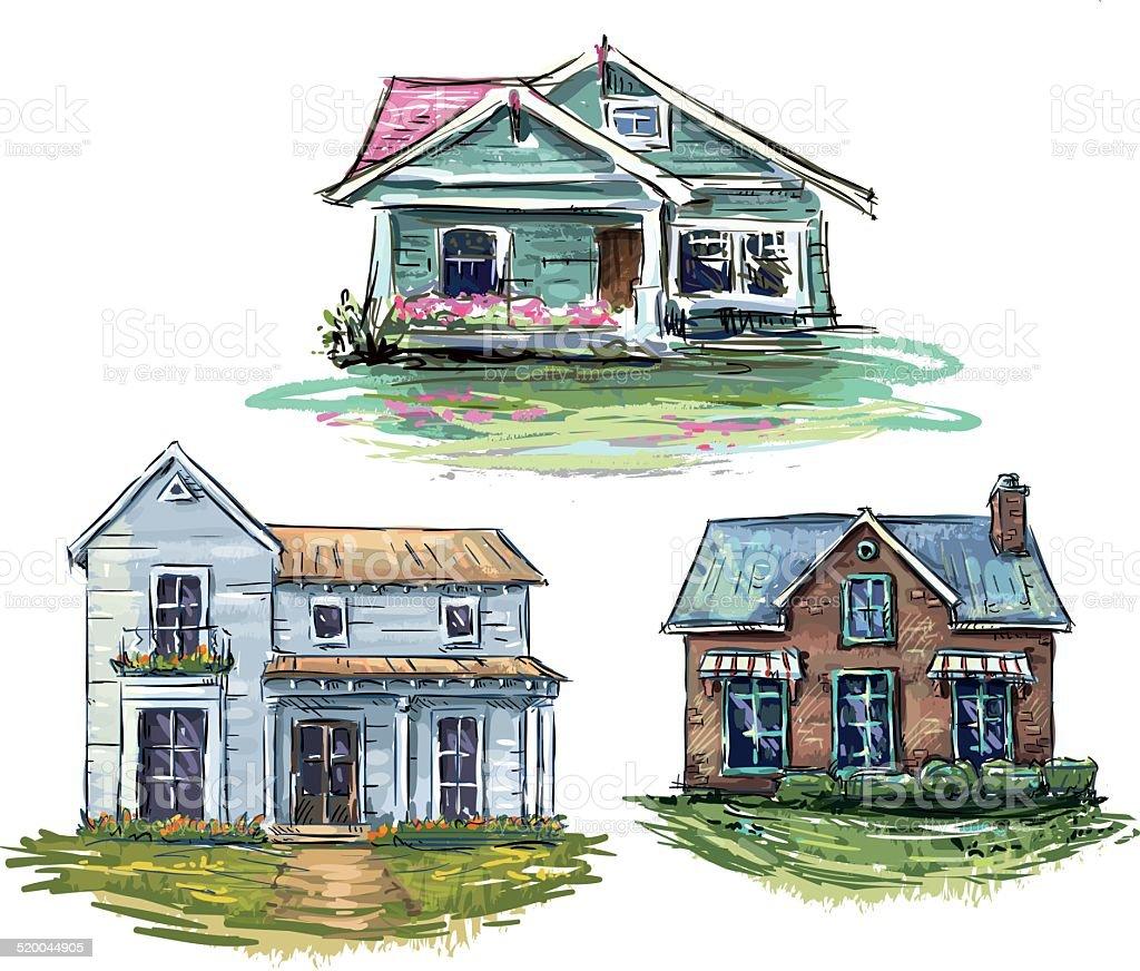 Set of private houses, hand drawn, vector illustration vector art illustration