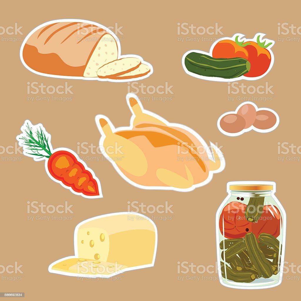 Set of products. Cheese, bread, chicken, vegetables royalty-free stock vector art