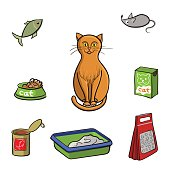 Set of products for cats. Vector illustration.