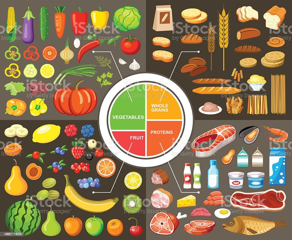 Set of products for healthy food vector art illustration
