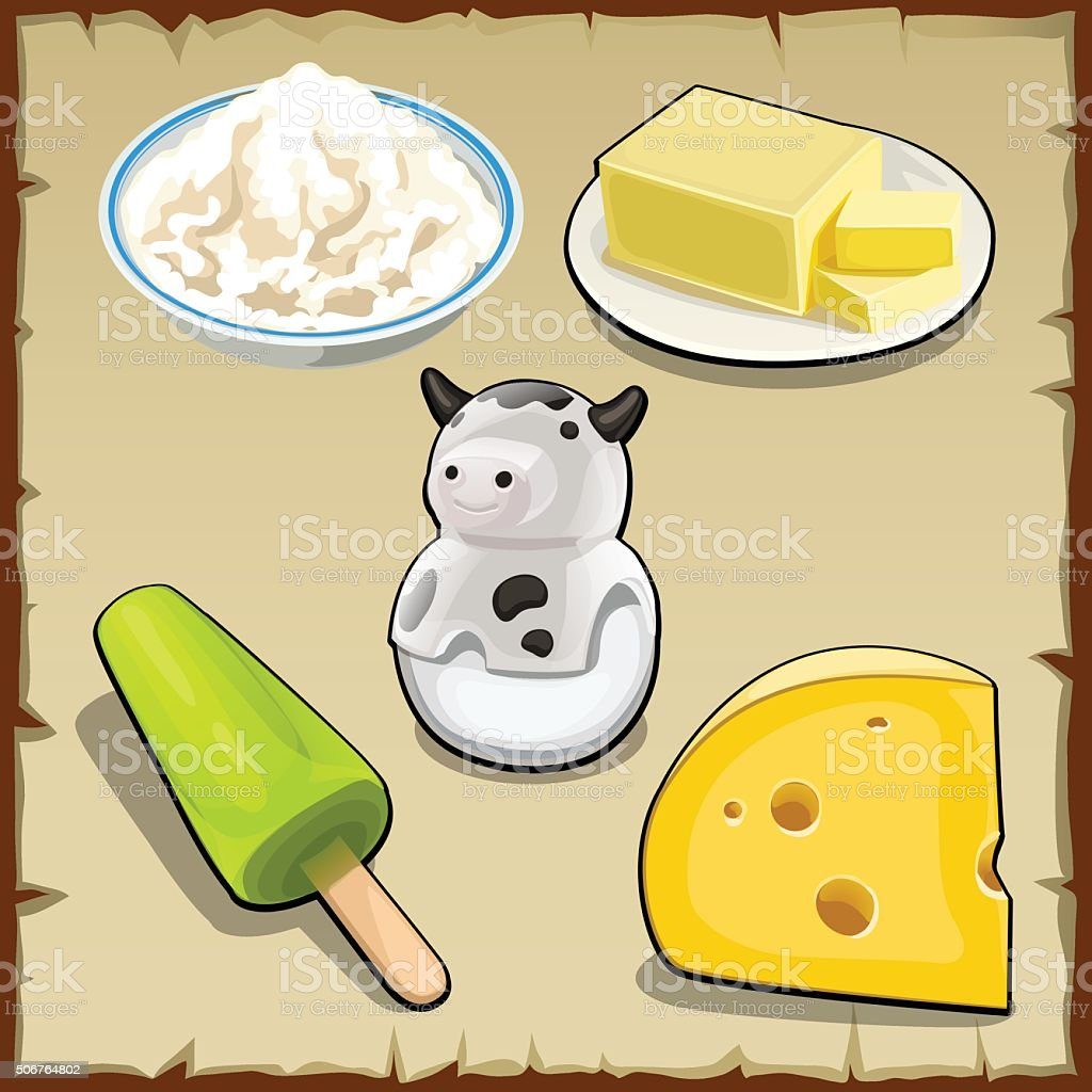 Set of products from milk, curd, cheese and more vector art illustration