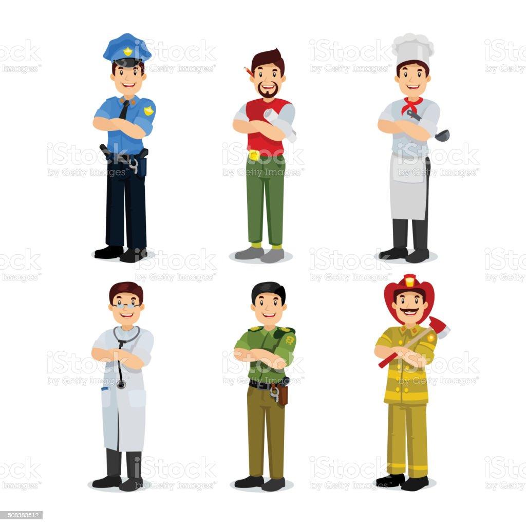 Set of profession man policeman, artist, cooker, military, doctor, firefighter. vector art illustration