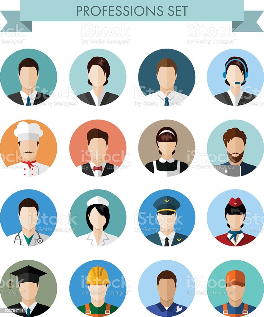 Set of professions people vector art illustration
