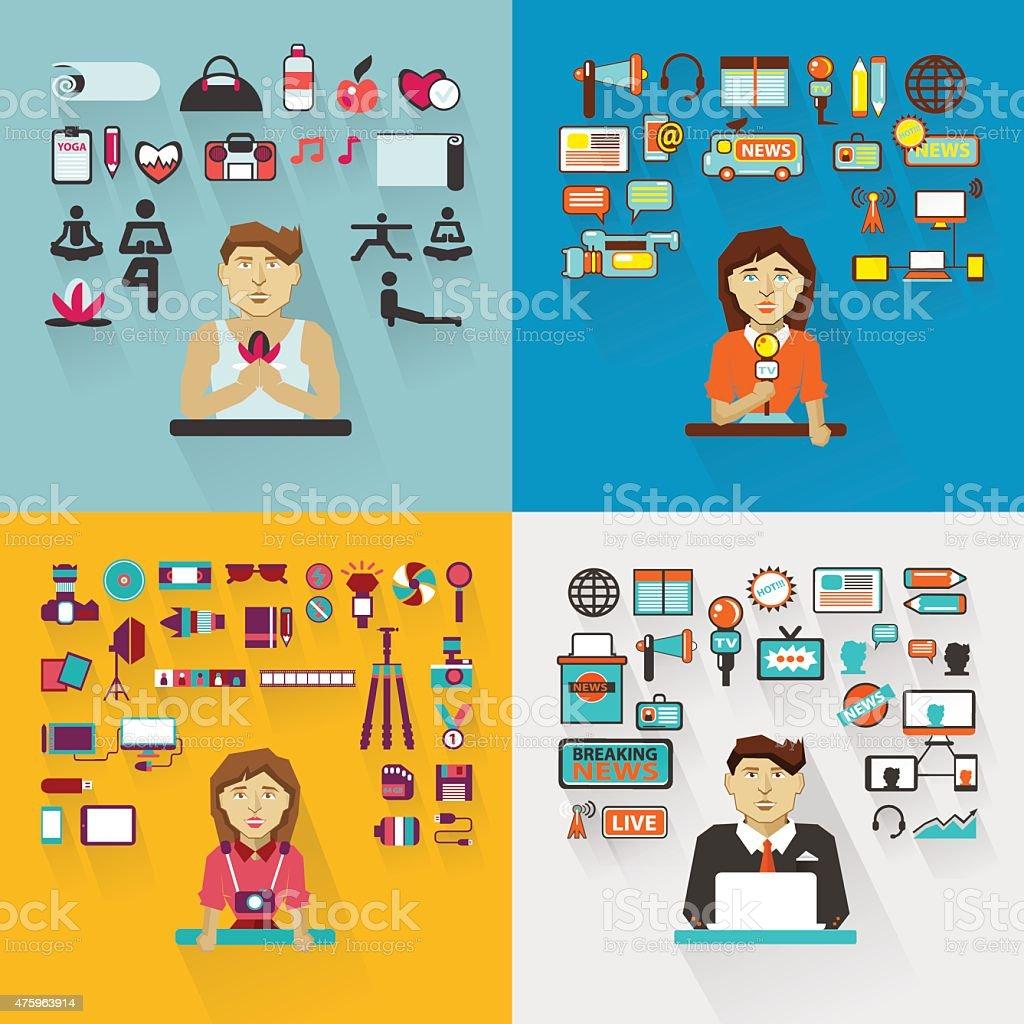 Set of professions. vector art illustration