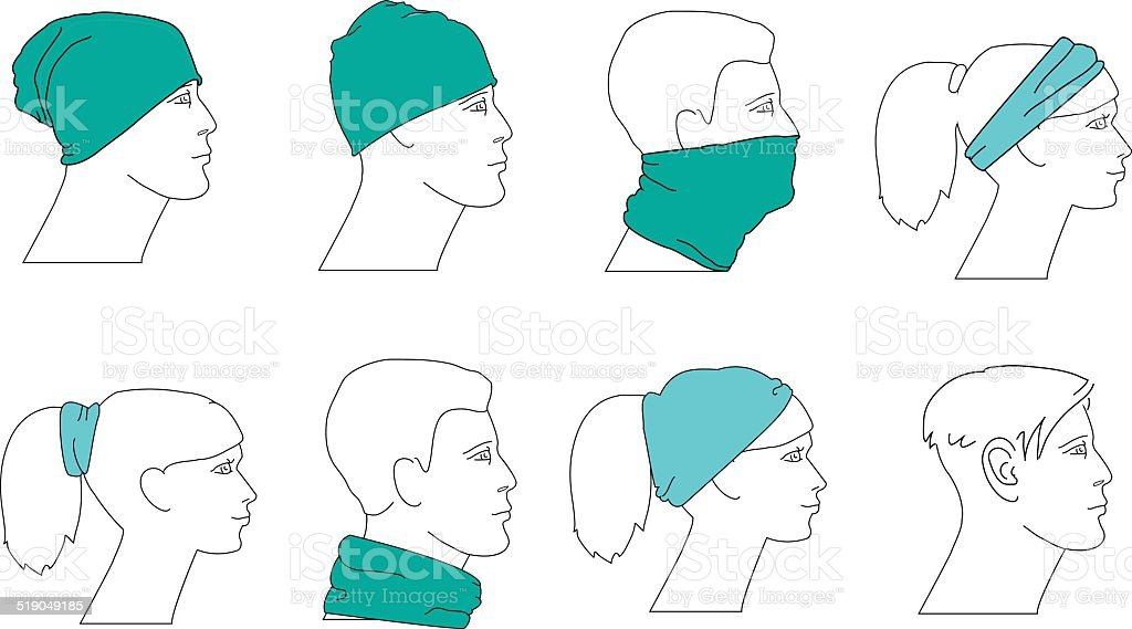 set of profile faces with different hats vector art illustration