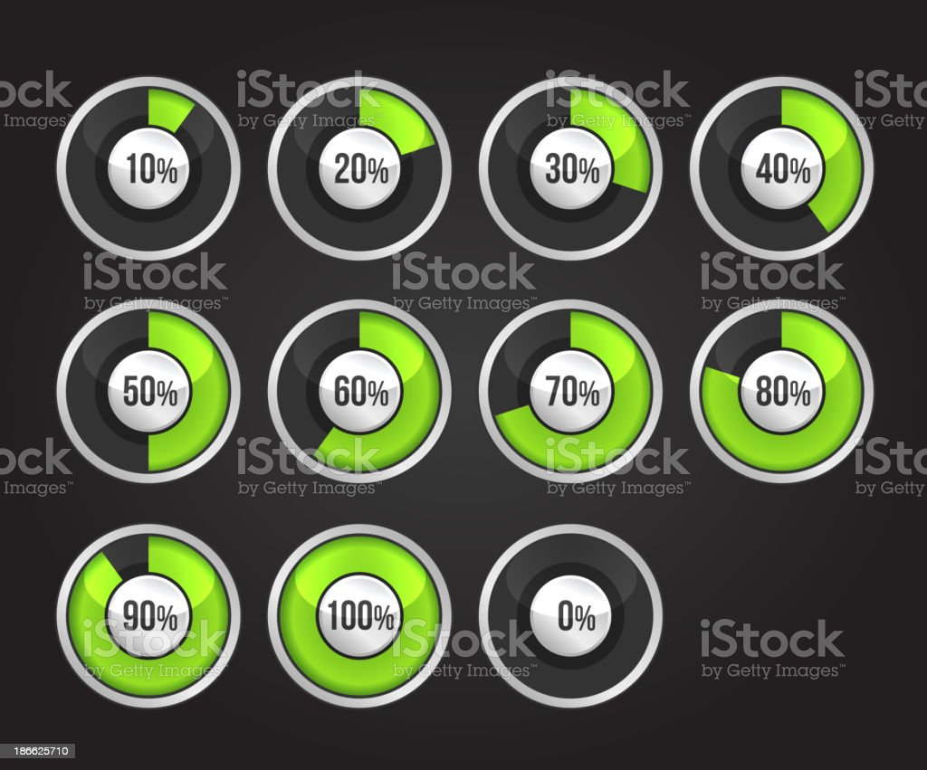 Set of progress indicator circles royalty-free stock vector art