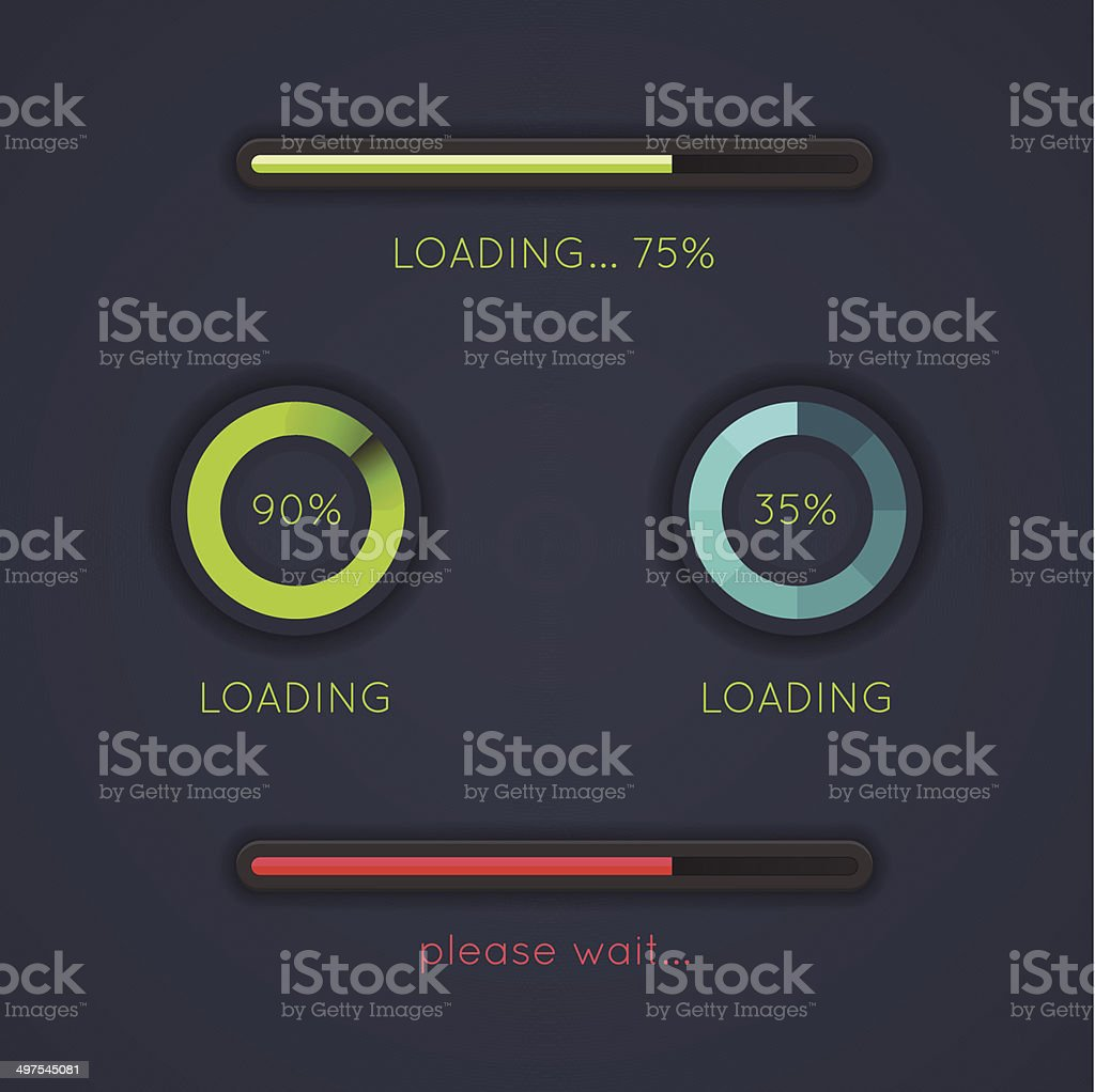 Set of progress loading bars on dark background vector art illustration