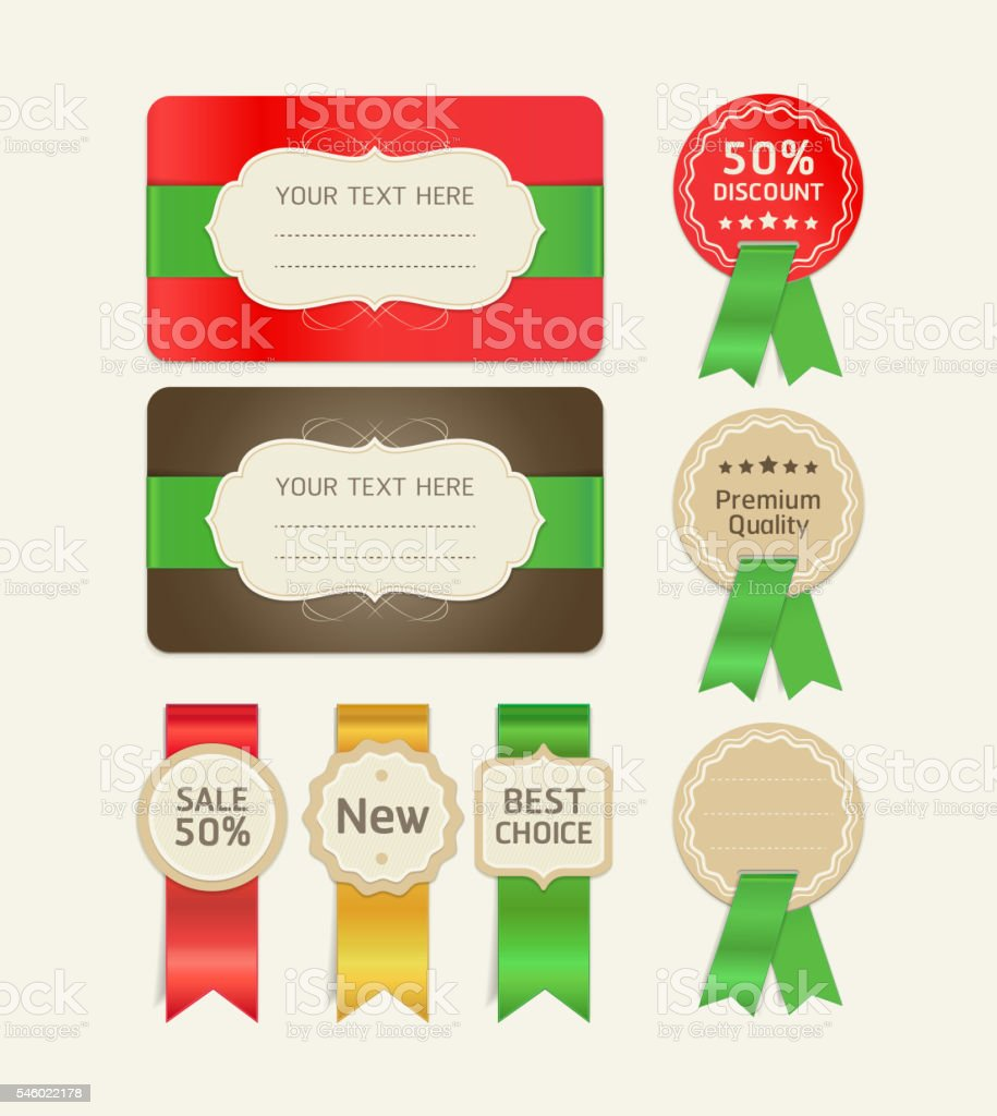 Set Of Promotion Cards Design With Ribbons Illustracion Libre De