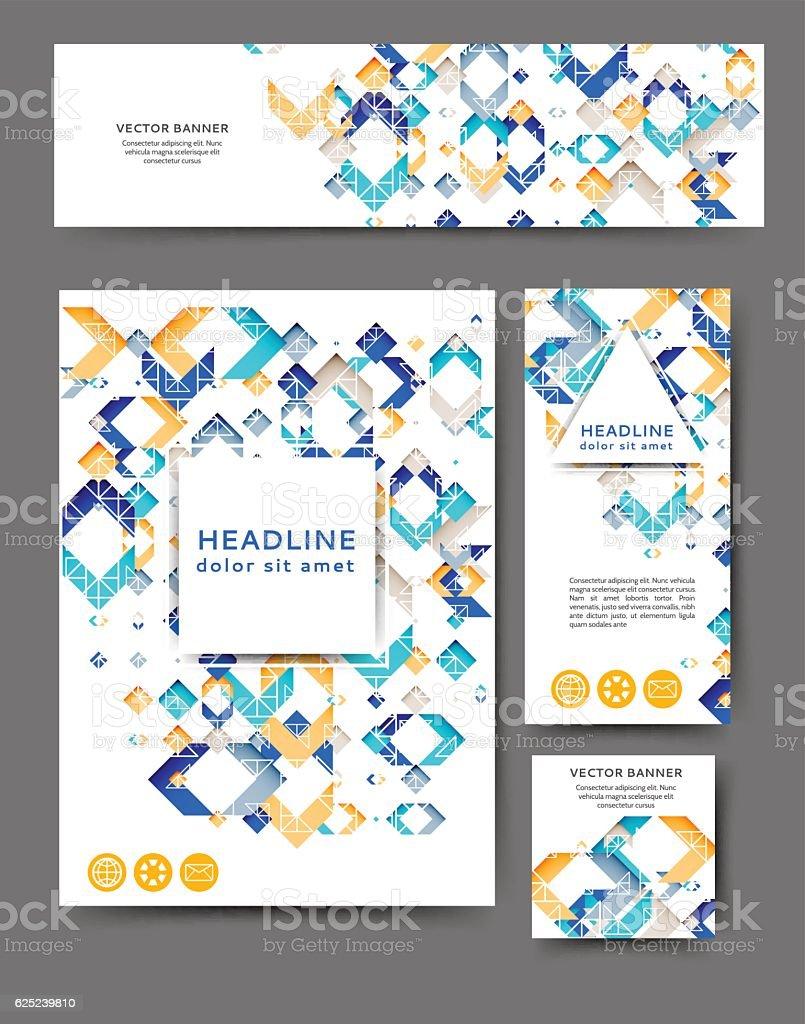 Set of promotional flyers vector art illustration