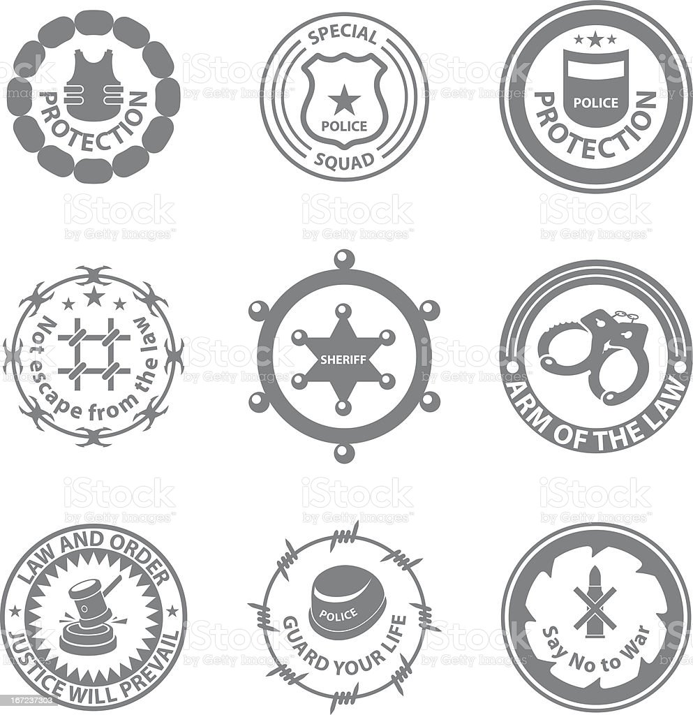 Set of protection badges and labels royalty-free stock vector art