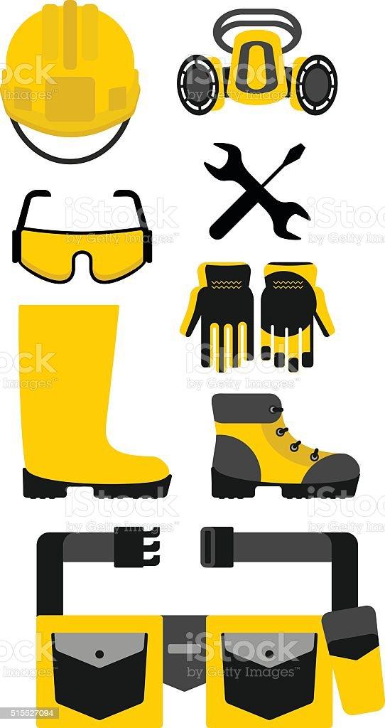 Set of protective equipment vector art illustration