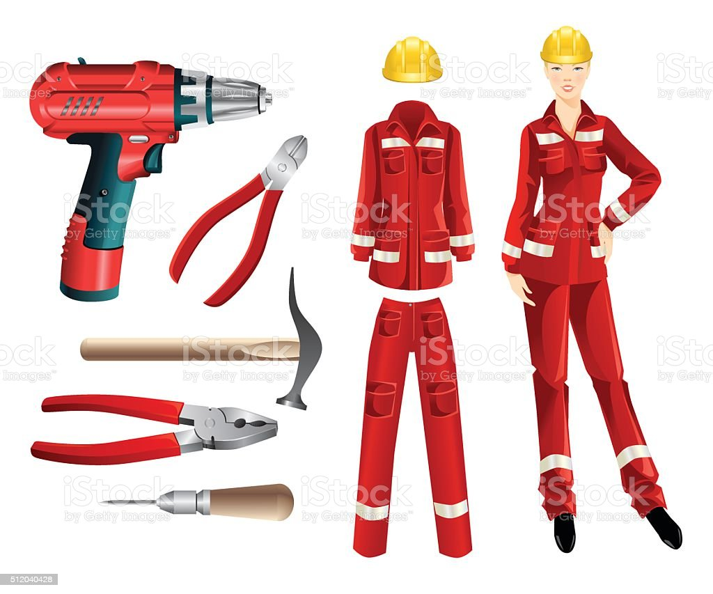 Set of protective wear and hand tools vector art illustration