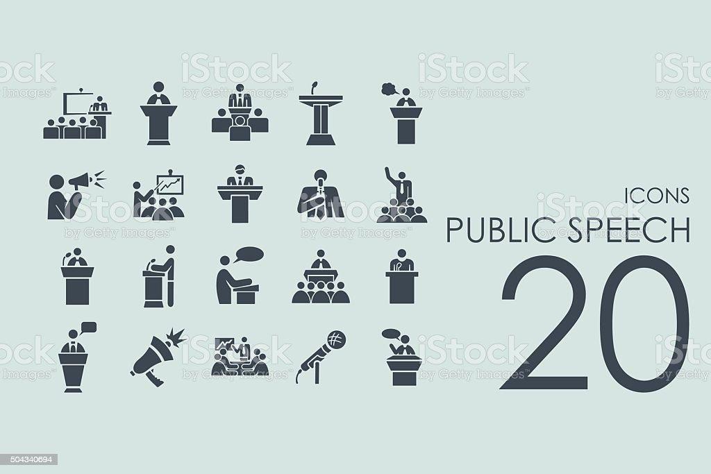 Set of public speech icons vector art illustration