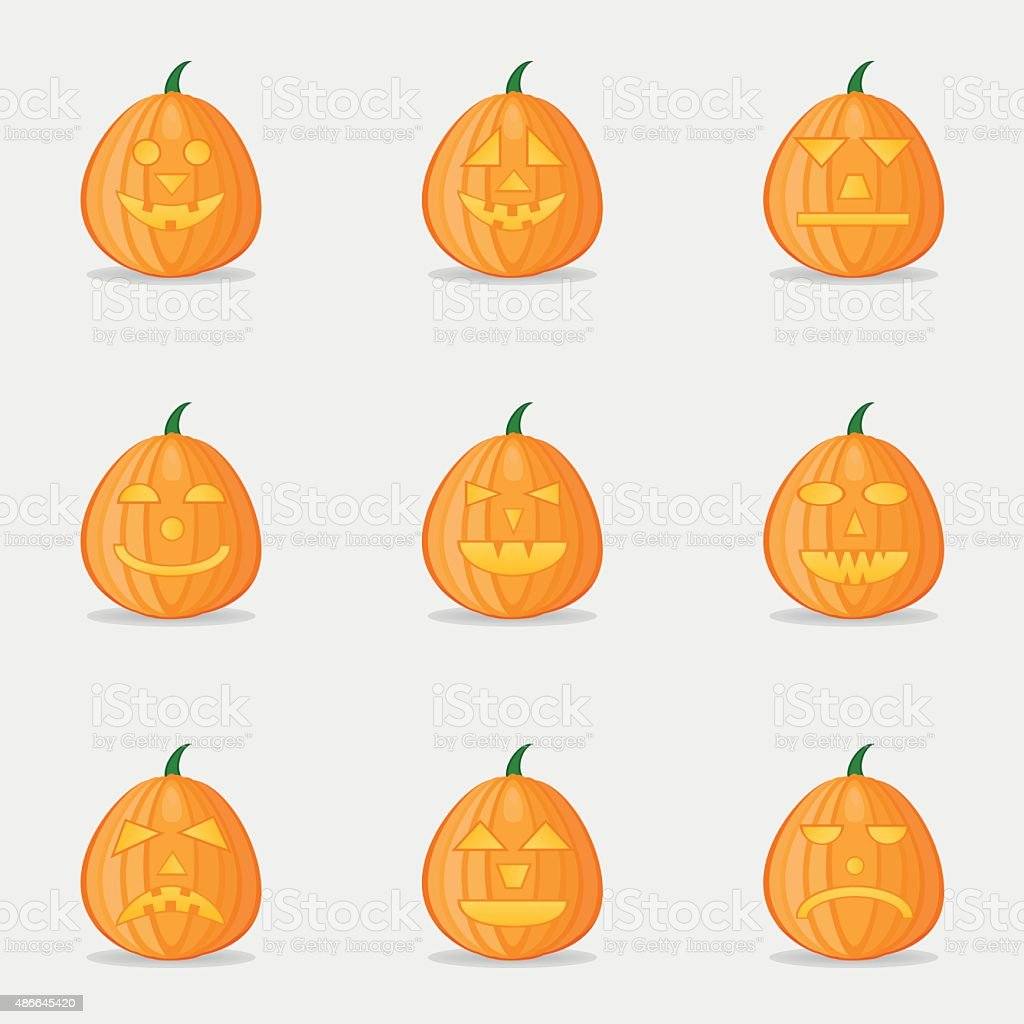 Set of pumpkins for Halloween with different facial expressions vector art illustration