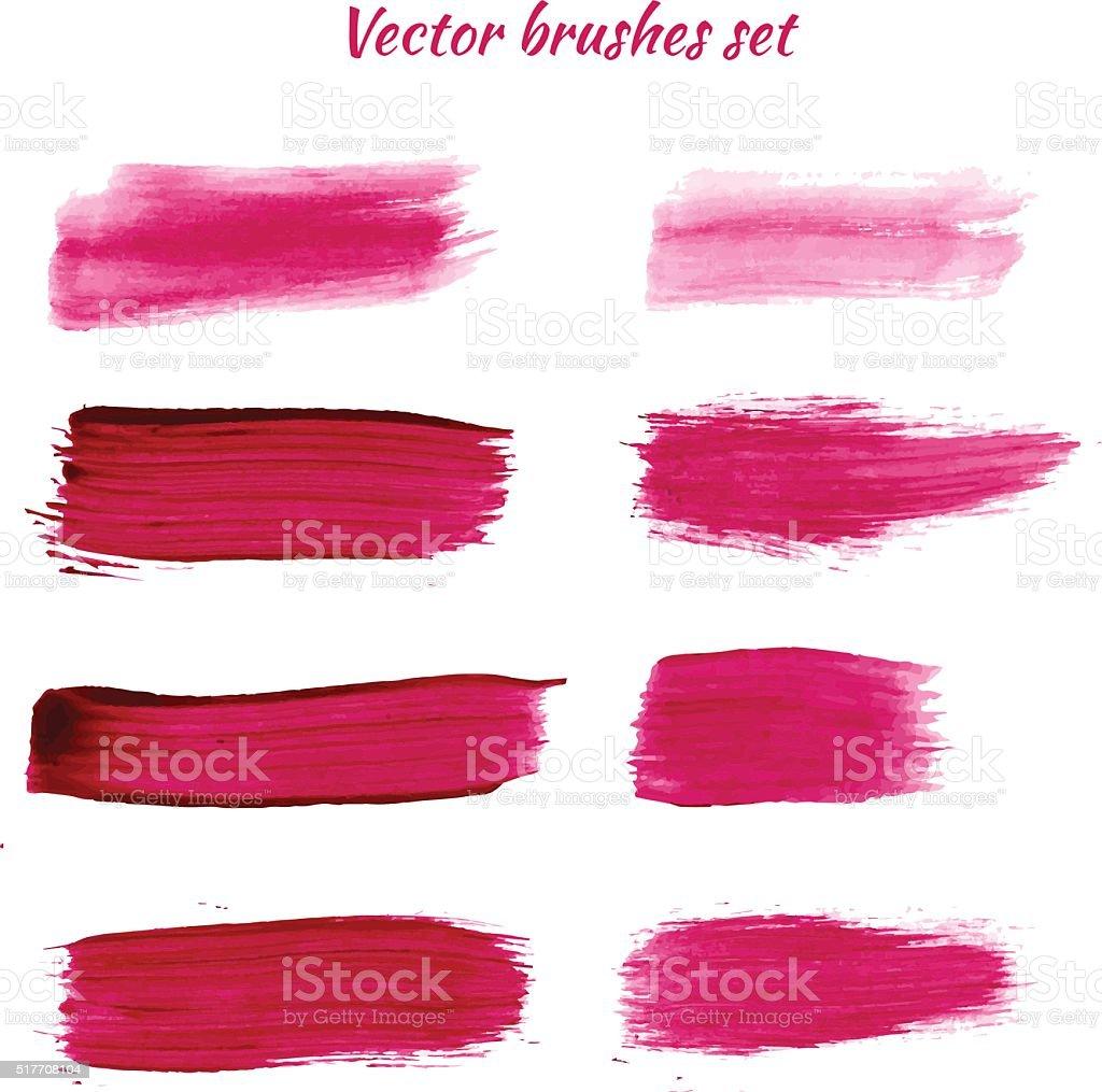 Set of purple acrylic brush vector strokes vector art illustration