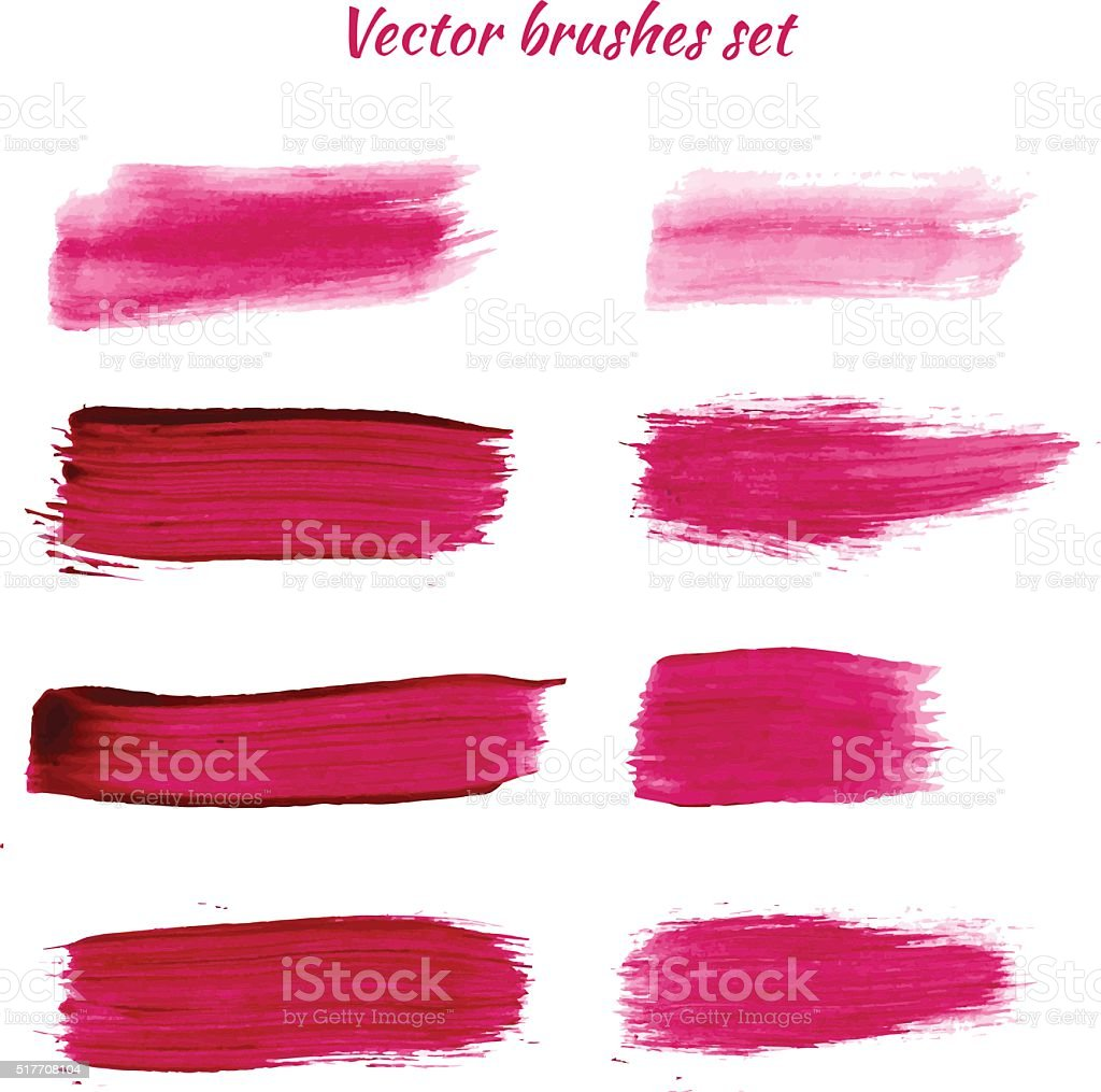 Set of purple acrylic brush vector strokes vector art illustration