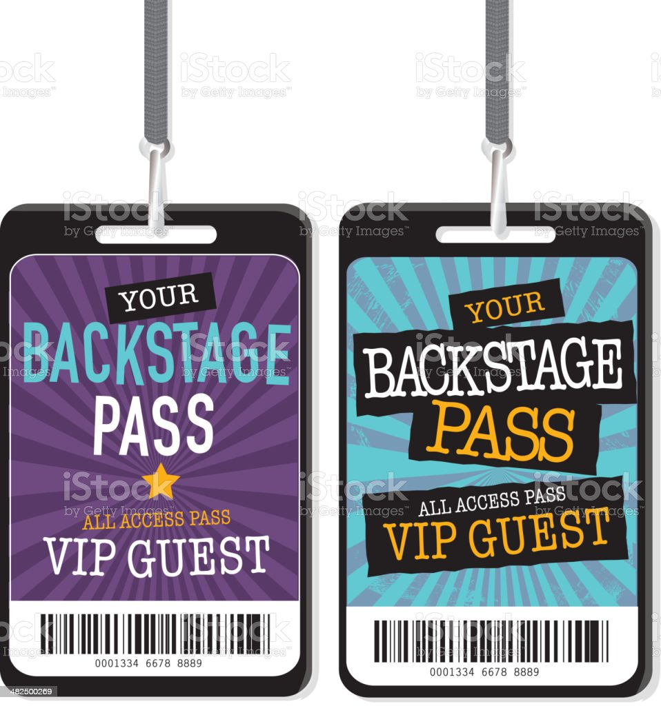 Set of purple blue and yellow Backstage Pass template designs vector art illustration