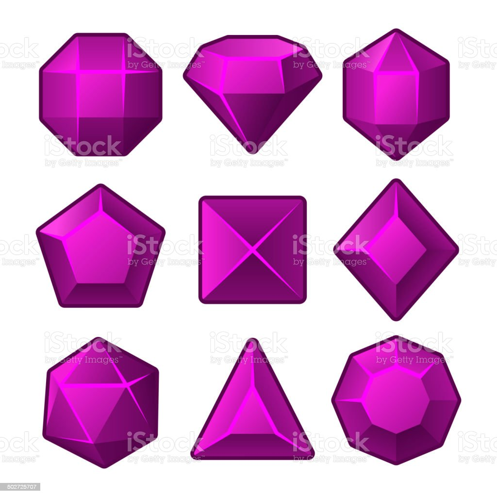 Set of Purple Gems for Match3 Games. Vector royalty-free stock vector art