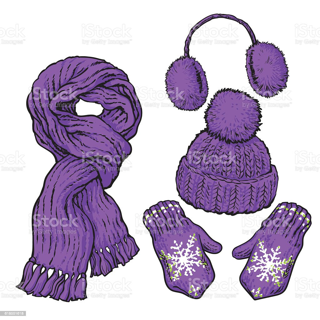 Set of purple knotted scarf, hat, ear muffs and mittens vector art illustration