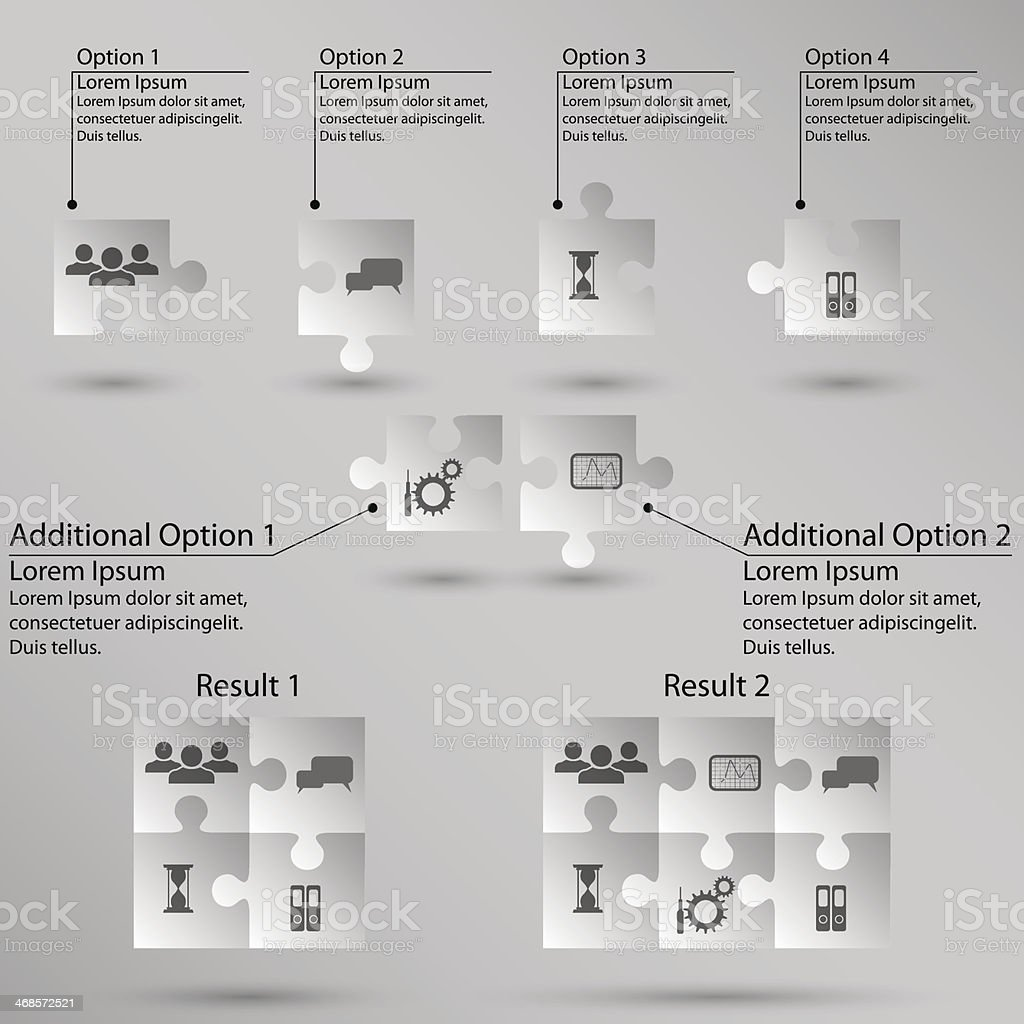Set of puzzle for infographic on white background. Vector royalty-free stock vector art