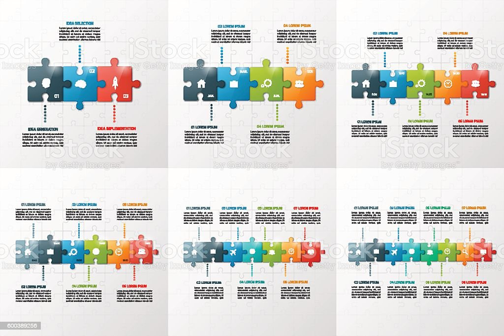 Set of puzzle style infographic templates 3-8 steps vector art illustration