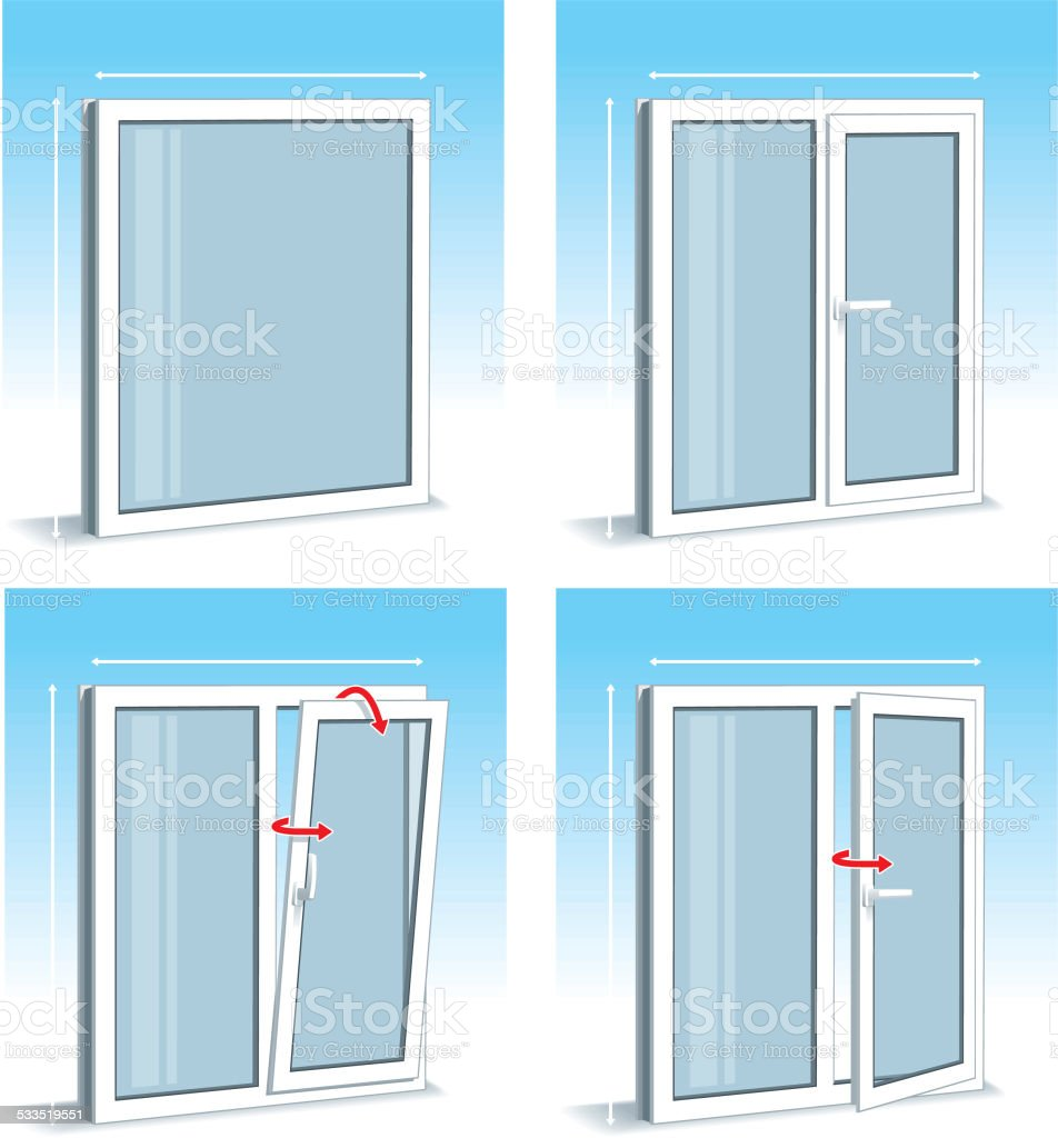 Set of PVC Windows Types vector art illustration