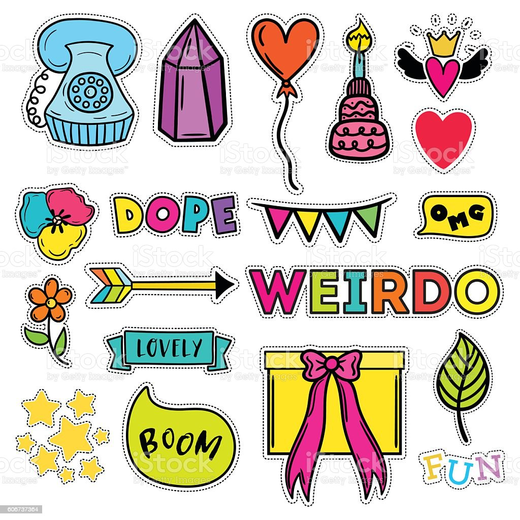 Set of quirky cartoon patch badges. Bright fashion pins. vector art illustration