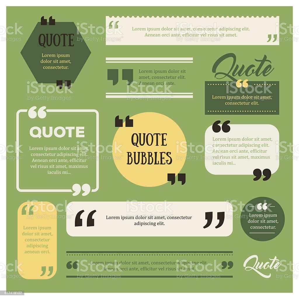 Set of quote bubbles vector art illustration
