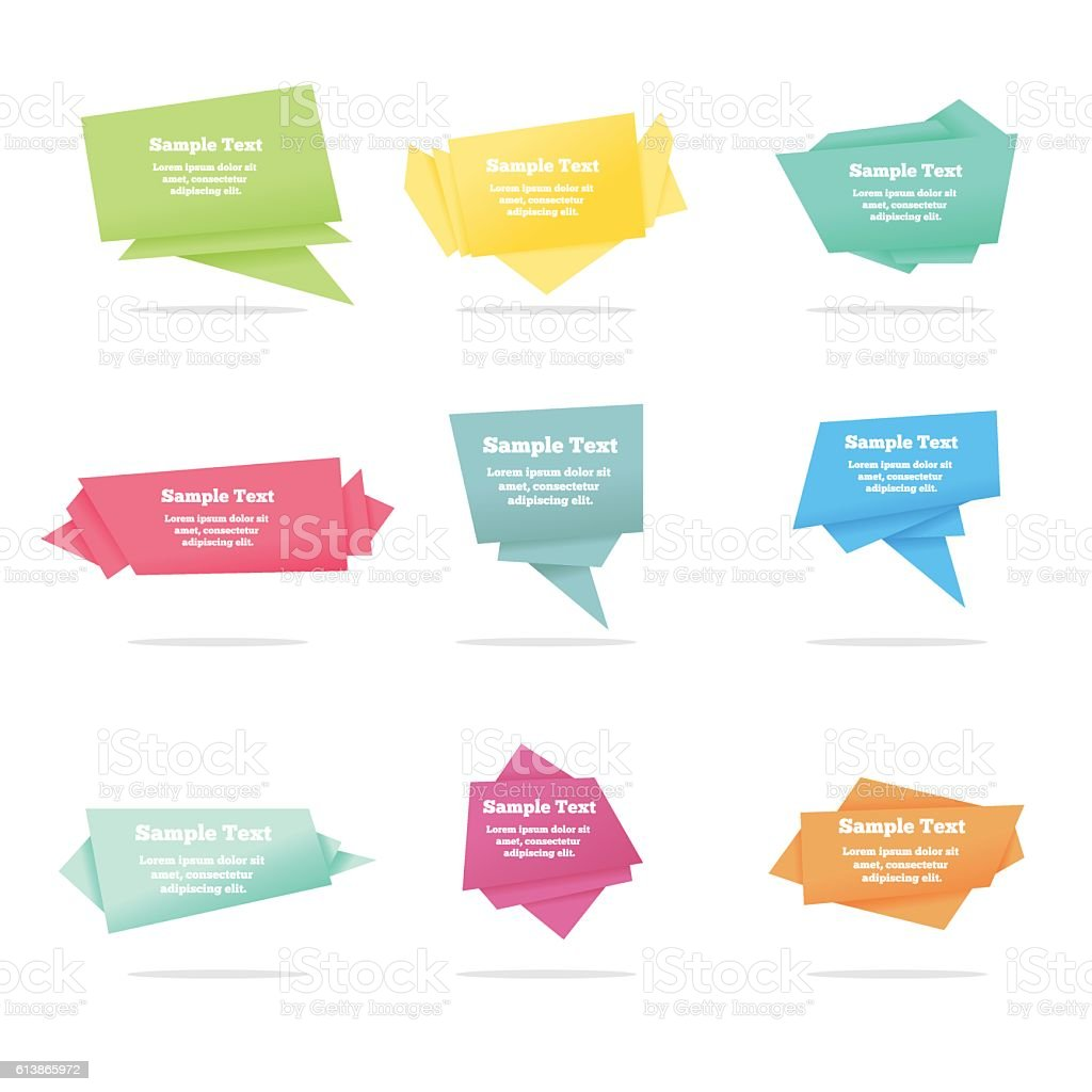Set of quote vector abstract geometric origami speech bubbles background vector art illustration