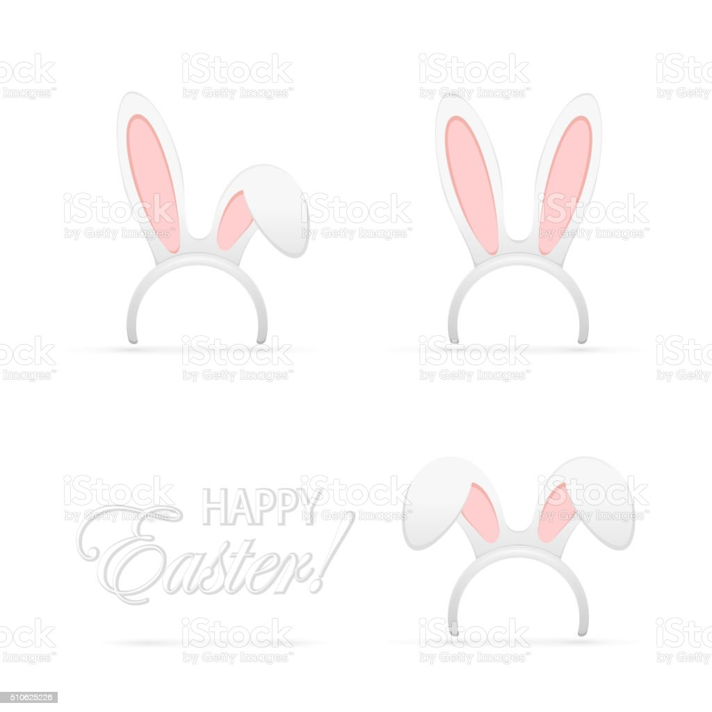 Set of rabbit ears vector art illustration