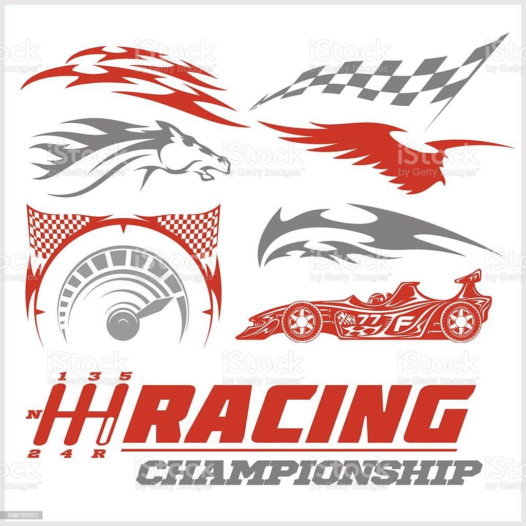 Set of racing stickers. Monochrome vector illustrations. vector art illustration