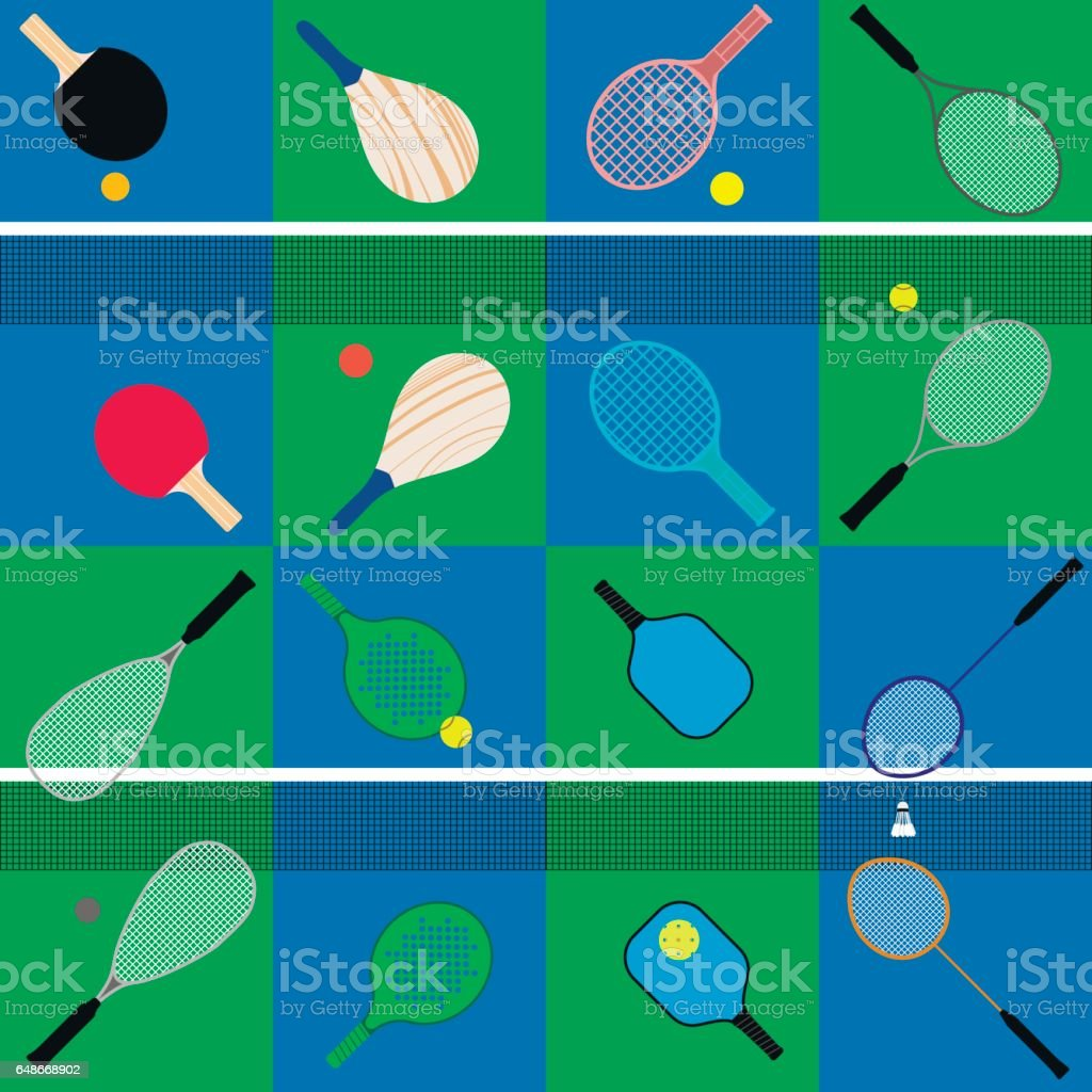 set of rackets and balls vector art illustration