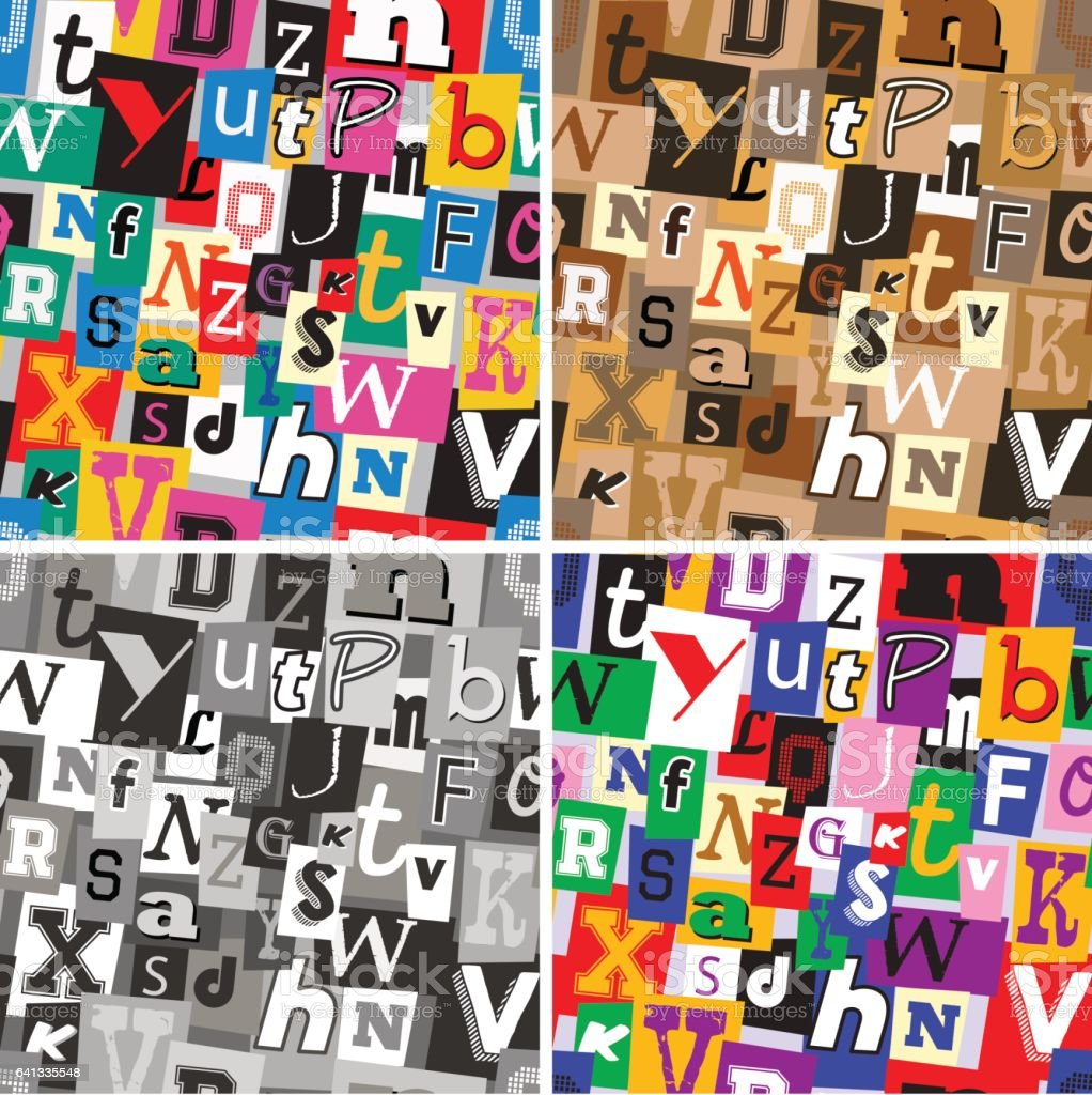 Set of ransom note kidnapper seamless patterns vector art illustration