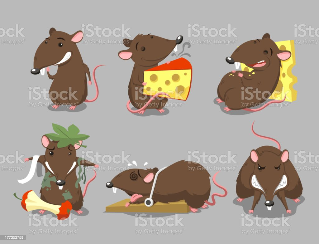 Rats Rodent Cheese Trap Set vector art illustration