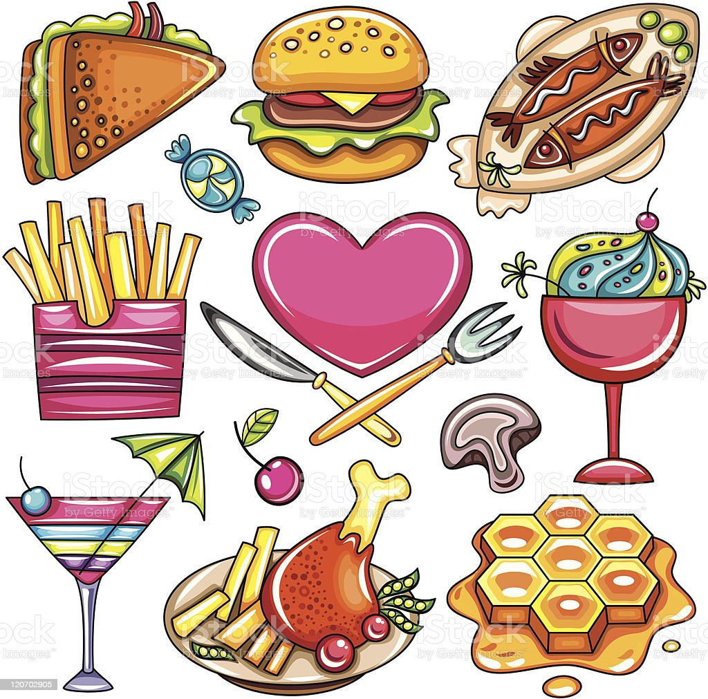 Set of ready-to-eat food icons. part 1 royalty-free stock vector art