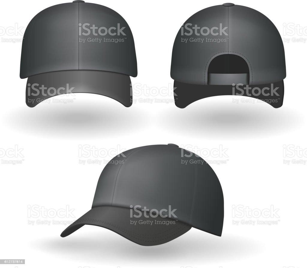 Set of realistic black baseball caps isolated Vector vector art illustration