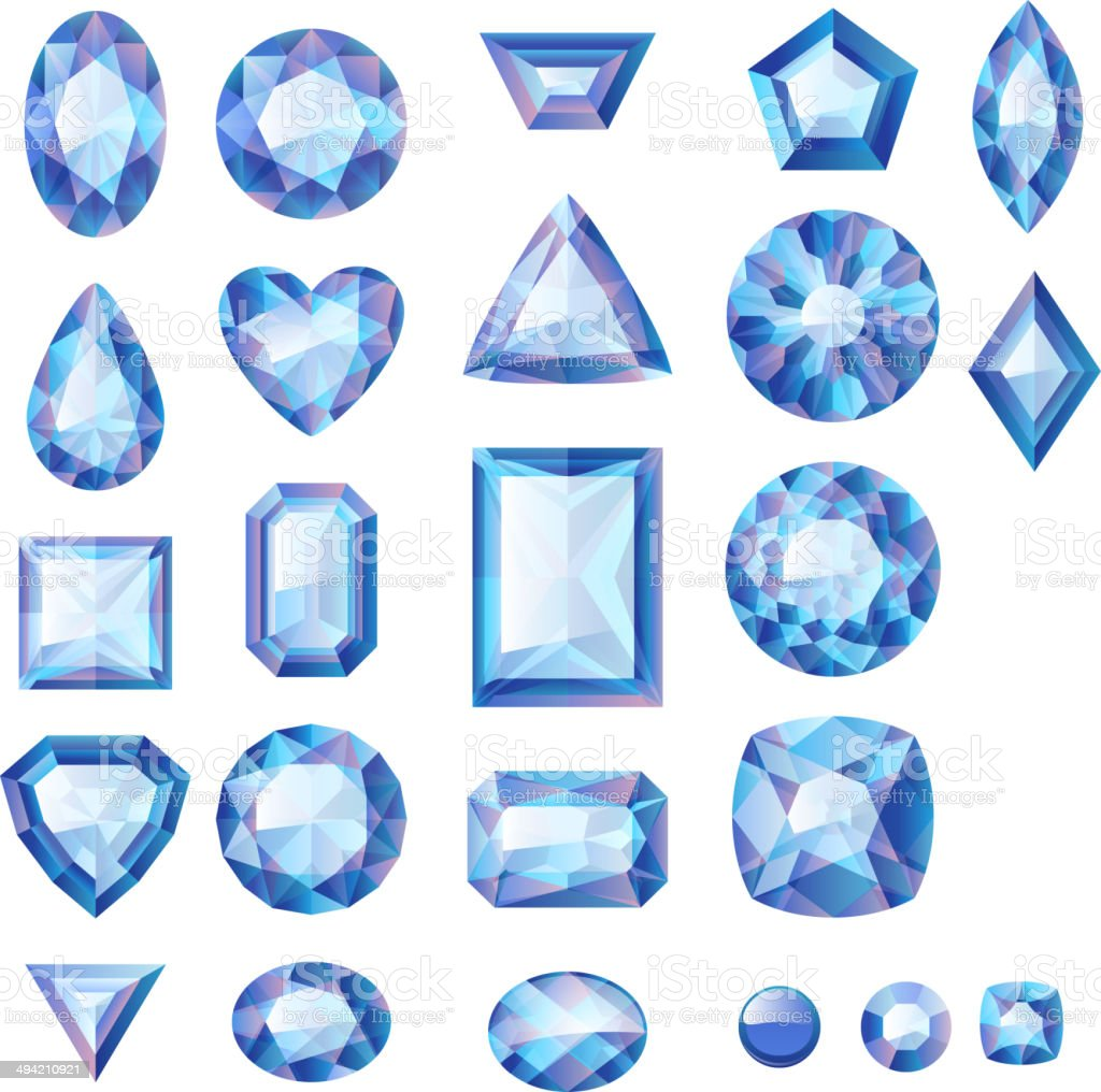 Set of realistic blue jewels. Colorful gemstones. vector art illustration